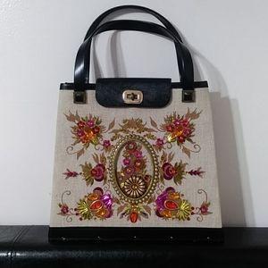 Vintage Floral Embellished Handbag
